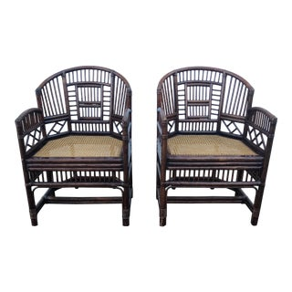 Late 20th Century Vintage Brighton Bamboo Rattan Arm Chairs- A Pair For Sale