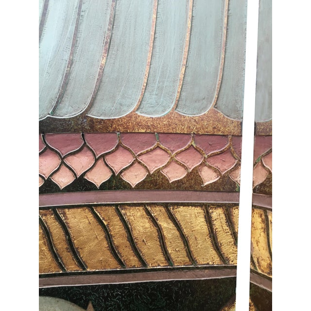 6 Foot Tall 1930s Hand Carved and Painted Art Deco Screen - Image 5 of 10
