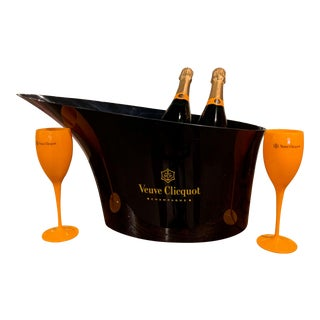 "French Acrylic ""Veuve Clicquot"" Double Magnum Champagne Cooler With Glasses For Sale"
