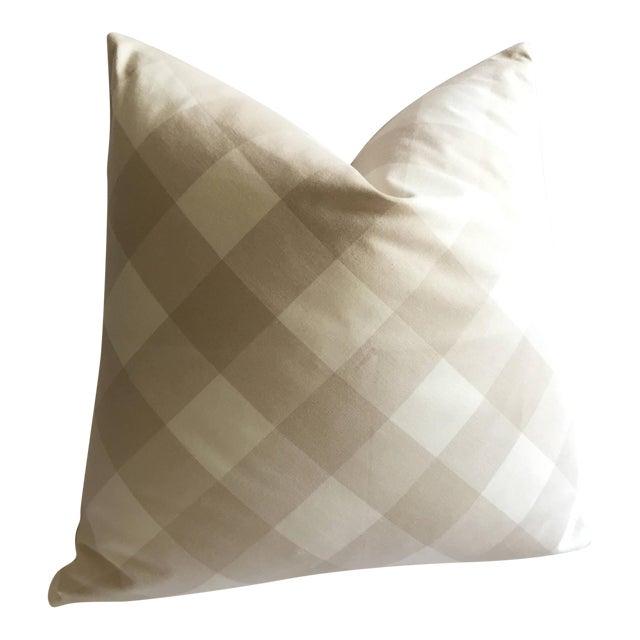 Diagonal Beige & Cream Plaid Pillow Cover - Image 1 of 6