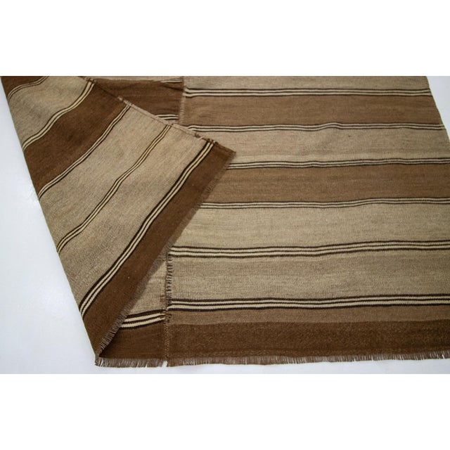 1960s 1960s Vintage Brown Striped Kars Wool Kilim Rug- 5′10″ × 11′7″ For Sale - Image 5 of 7