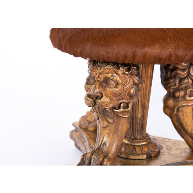 19th Century Elements Tripod Stool With Animate Carved Lion's Head & Paws For Sale - Image 9 of 10