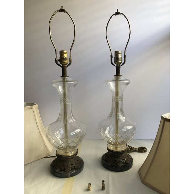 1900s Victorian Glass Table Lamps with Marble and Bronze Base - a Pair For Sale In Los Angeles - Image 6 of 11