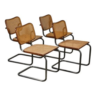 Mid-Century Modern Vintage Caned Metal Dining Chairs - Set of 4 For Sale
