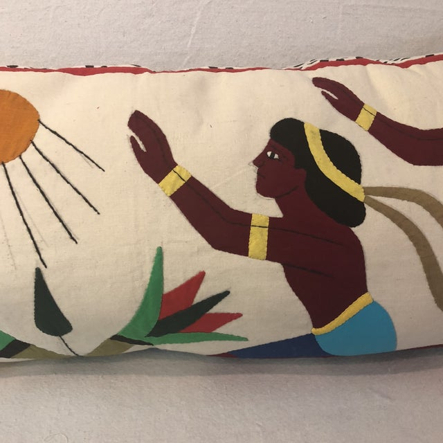 Vintage Egyptian Appliqué Wall Art Custom Pillow For Sale - Image 4 of 7
