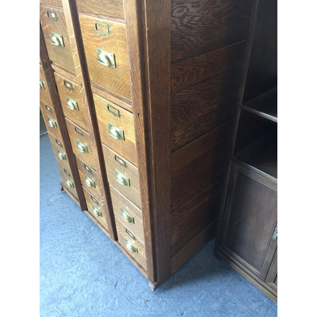 Brown Antique Oak Letter File 21 Drawer For Sale - Image 8 of 12