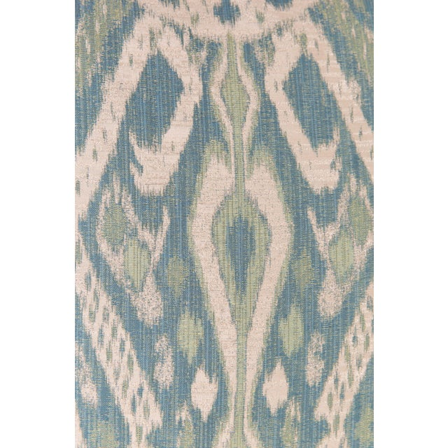 Contemporary Teal & Green Sateen Ikat Pillows - A Pair For Sale - Image 3 of 5