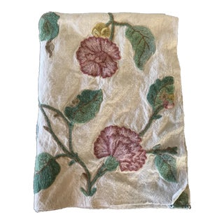 Crewel Embroidered Pink & Green Floral Fabric For Sale