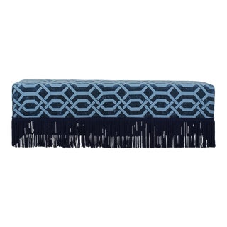 Blue Geometric Chenille Bench With Lucite Legs, Blue Ottoman, Mid Century Ottoman For Sale