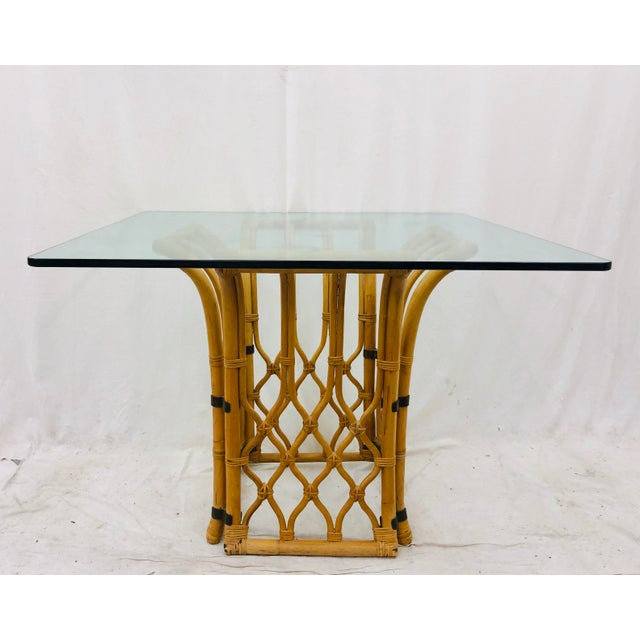 Ficks Reed Rattan & Glass Table For Sale - Image 4 of 10