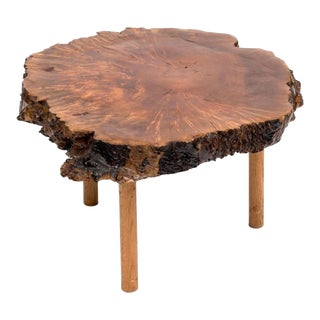 Mid-Century Live Edge Walnut Coffee Table For Sale