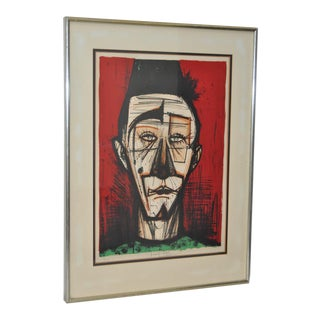 """Bernard Buffet """"Clown With Fez"""" Pencil Signed Limited Edition Lithograph C.1968 For Sale"""