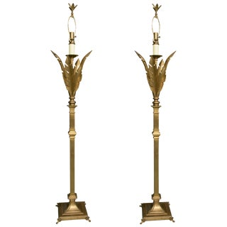 Brass Floor Lamps - a Pair For Sale