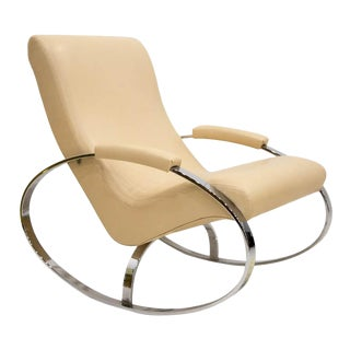 Italian Chrome Rocking Chair by Guido Faleschini