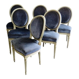 Set of 6 Louis XVI Style Dining Chairs For Sale