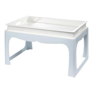 Jeffrey Bilhuber Collection Breakfast Tray Table in Slate White / Smoke Blue For Sale