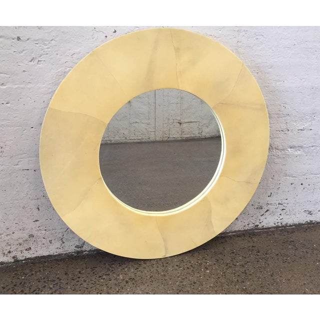 Karl Springer Round Goatskin Mirror For Sale - Image 4 of 4