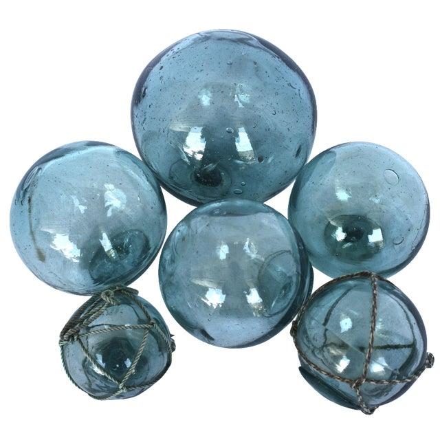 Vintage Aqua Glass Fishing Floats - Set of 6 - Image 1 of 3