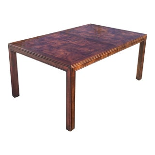 Mid-Century Modern Oak-Burl Parquetry Top Parsons Style Extension Dining Table For Sale