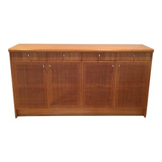 Mid-Century Modern Cane Door Birch Credenza For Sale