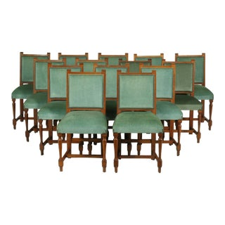 Vintage Set of 14 French Mission Oak Refectory Dining Room Chairs For Sale