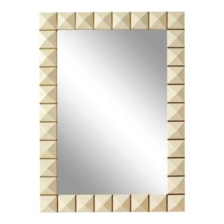 Bespoke Geometric Parchment Mirror With Inlaid Brass