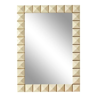 Custom Geometric Parchment Mirror With Inlaid Brass For Sale