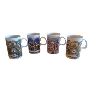 Vintage Sue Scullard for Dunoon Fine Porcelain Christmas Mugs - Set of 4 For Sale
