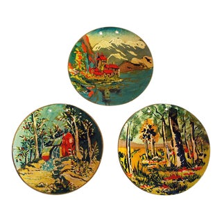 1940s Occupied Japan Hand Painted Wall Plaques - Set of 3