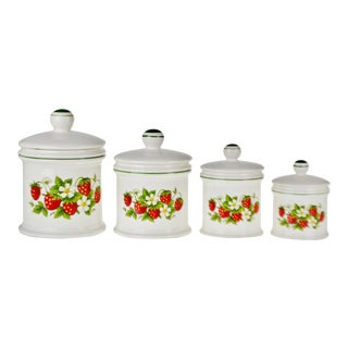 Vintage Sears Strawberry Country Kitchen Canisters - Set of 4 For Sale