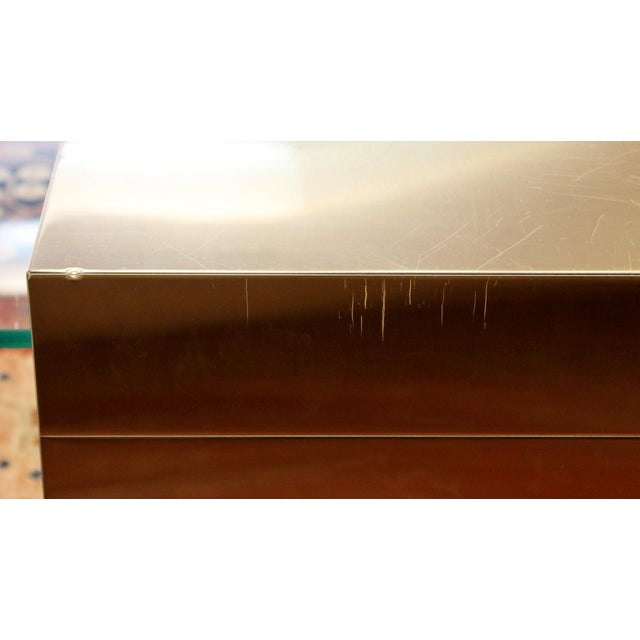 Mid-Century Modern Paul Evans Cantilever Brass Glass Cityscape Coffee Table For Sale - Image 10 of 12