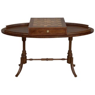20th Century Regency Style Oval Walnut Chess Game Table With Two Drawers For Sale