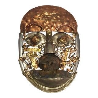 Vintage Brutalist Mixed Metals Mask For Sale