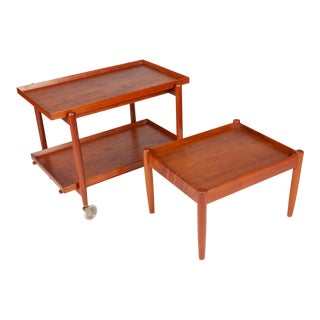 Vintage Danish Modern Teak Tea Service Bar Cart by Poul Hundevad and Side Table For Sale