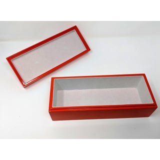 Bright Orange Enamel Finish Decorative Box With Gold Handle Preview