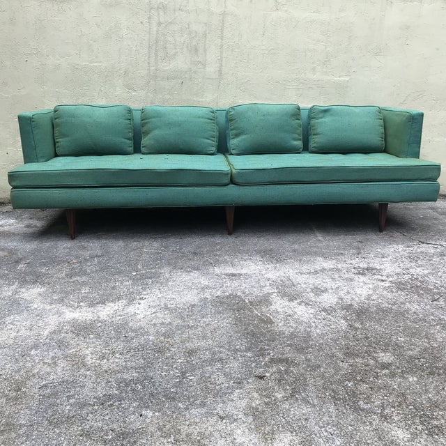 Contemporary Edward Wormley 4907a Sofa for Dunbar With Knoll Fabric & Rosewood Legs For Sale - Image 3 of 13