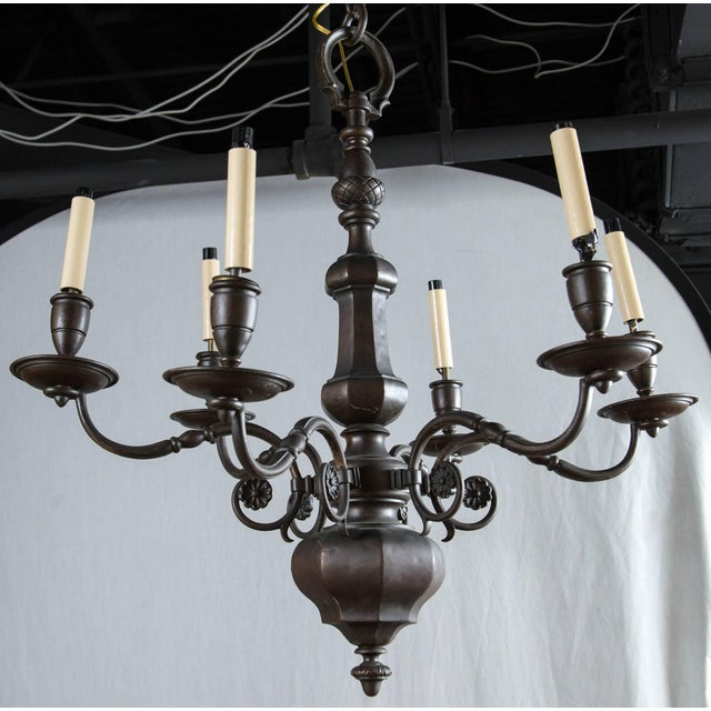 Edward F. Caldwell & Co. 1900 Caldwell Brown Patined Bronze Six-Light Chandelier For Sale - Image 4 of 4