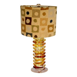 Lucite Caramel Table Lamp For Sale