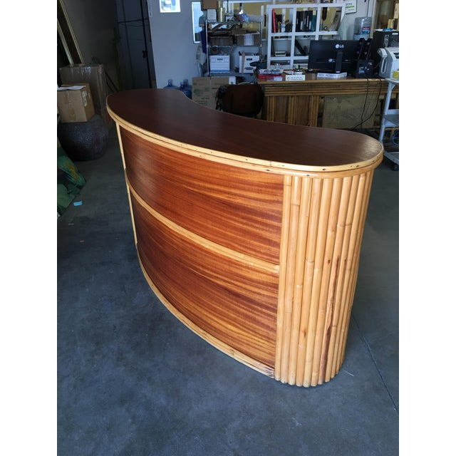 Biomorphic Stacked Rattan Bar With Mahogany Front & Top For Sale - Image 4 of 10