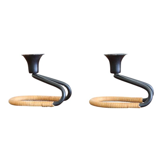 Cane Wrapped Round Candle Holders - A Pair For Sale