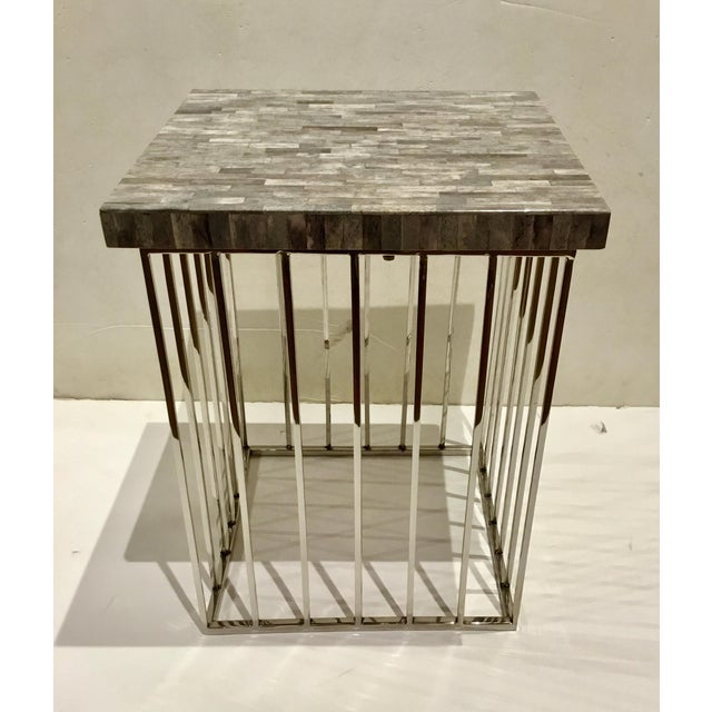 2010s Modern Regina Andrews Gray Bone and Chrome Square Accent Table For Sale - Image 5 of 6