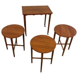 Danish Modern Poul Hundevad Teak Nesting Folding Side Tables - 4 Pieces For Sale