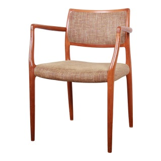 Moller Danish Modern Sculpted Solid Teak Armchair For Sale