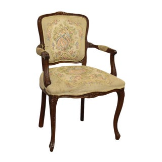 Decorative Victorian Style Needle Point Wooden Frame Chair For Sale