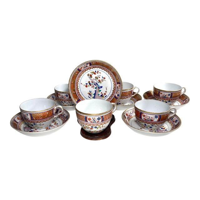 "Early 19th Century English Georgian Spode ""Kakiemon"" Tea / Coffee Cups and Saucers - Set of 6 For Sale"