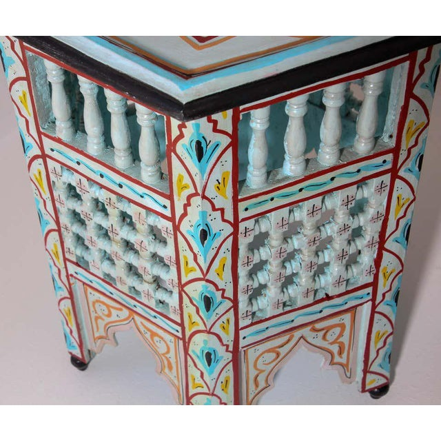 Moroccan Hand Painted Ivory Tables - a Pair For Sale - Image 11 of 13