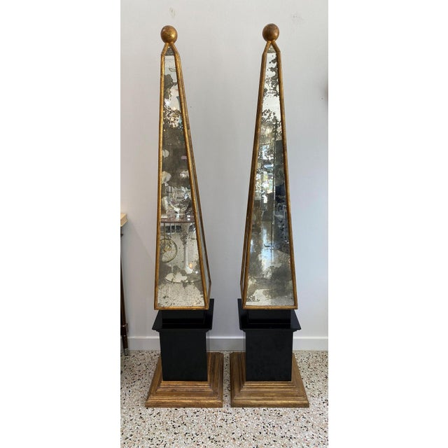 """Vintage Obelisks 73"""" Italian Florentine Giltwood and Antiqued Mirror - a Pair For Sale In West Palm - Image 6 of 12"""