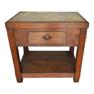 19th Century Kitchen Island/Marble Top Work Table For Sale
