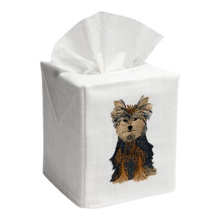 Yorkie Dog Tissue Box Cover White Linen & Cotton, Embroidered For Sale