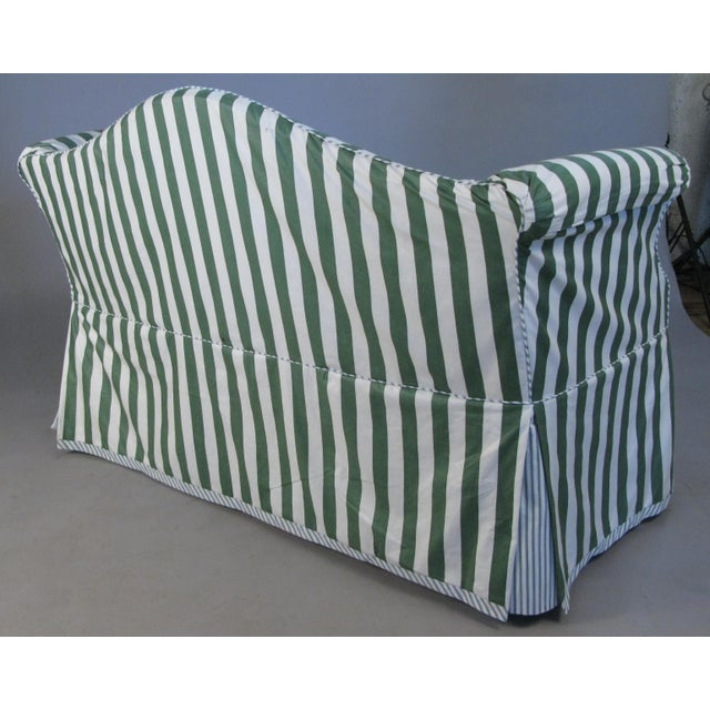 1960s Petite Camelback Settees With Slipcovers in Green & White - a Pair For Sale - Image 5 of 10